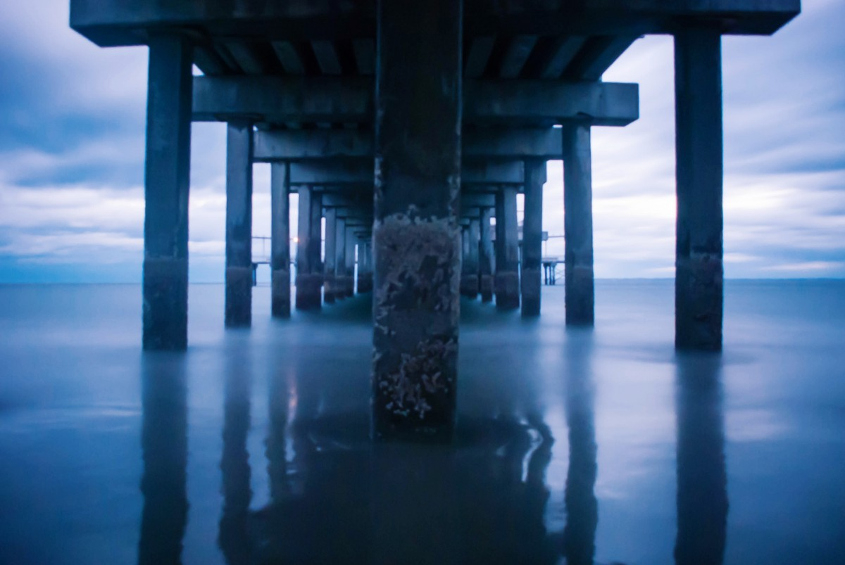 the water under a pier