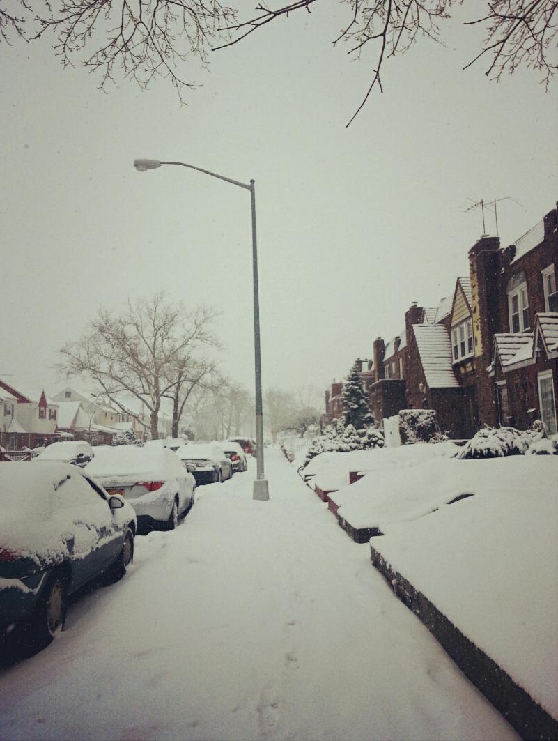 a snowy sidewalk