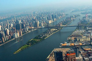 an aerial view of Roosevelt Island