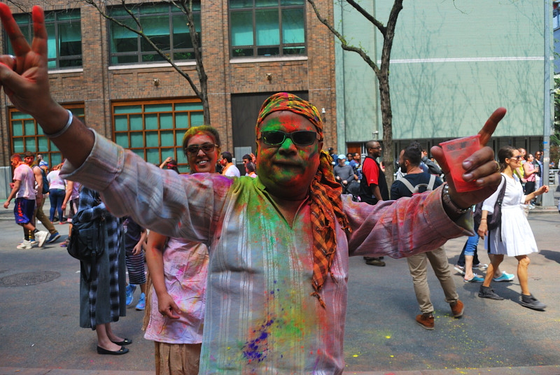 a man covered in colors