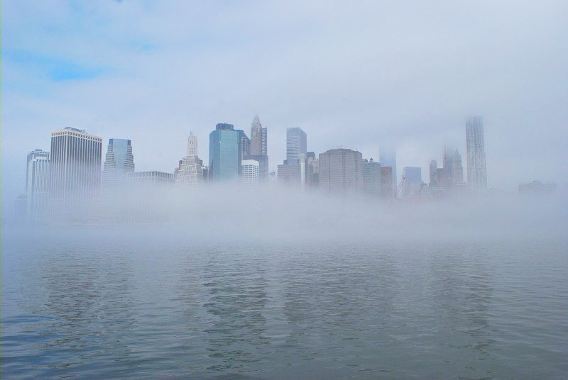 fog covering a city skyline