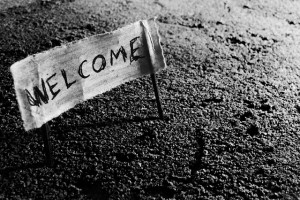 a small welcome sign