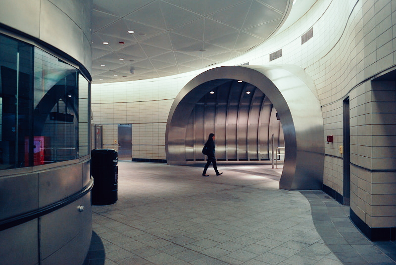 a future-istic subway tunnel
