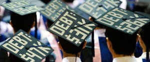 "graduation hats that say ""DEBT: $547K""; ""DEBT: $431K"