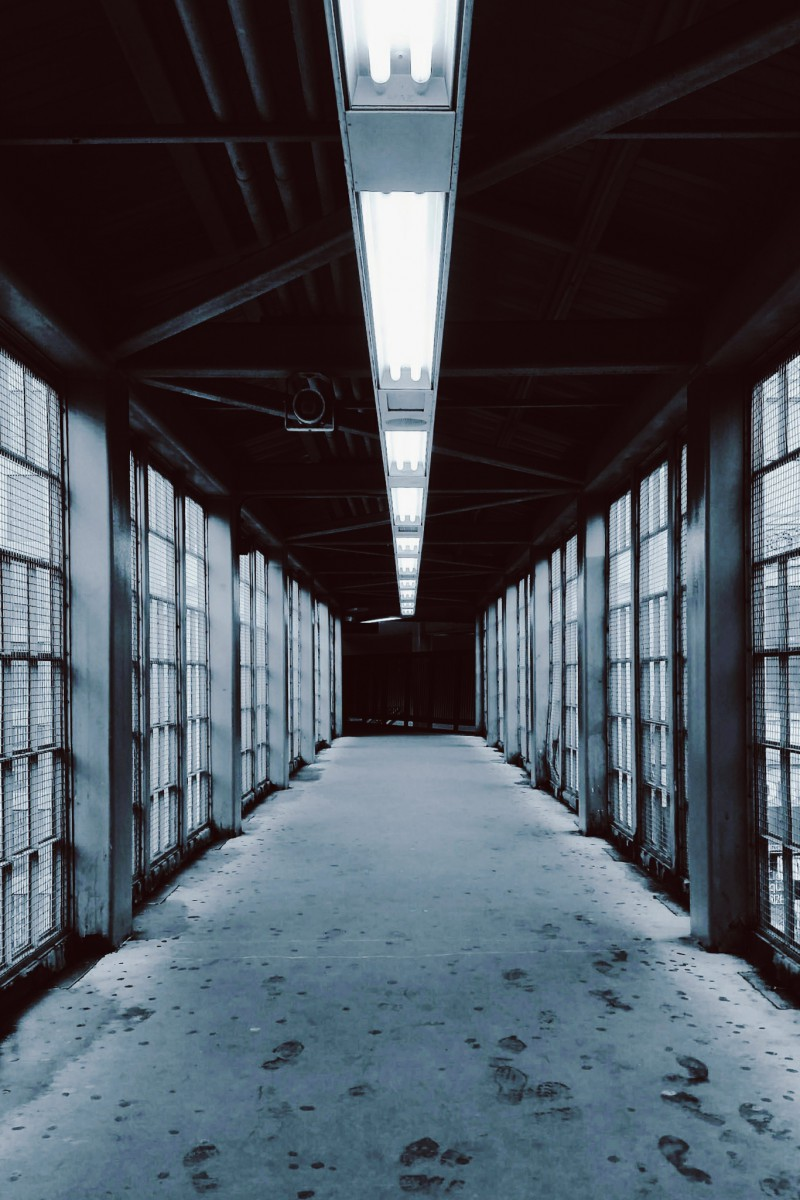 a hallway of windows