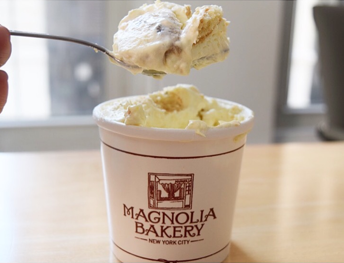 a dessert in a Magnolia Bakery cup