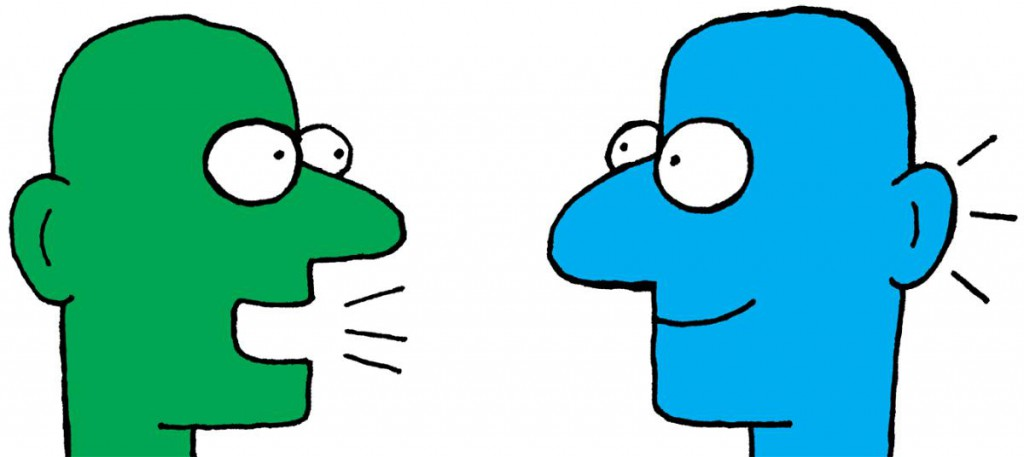 a cartoon of a green face talking to a blue face