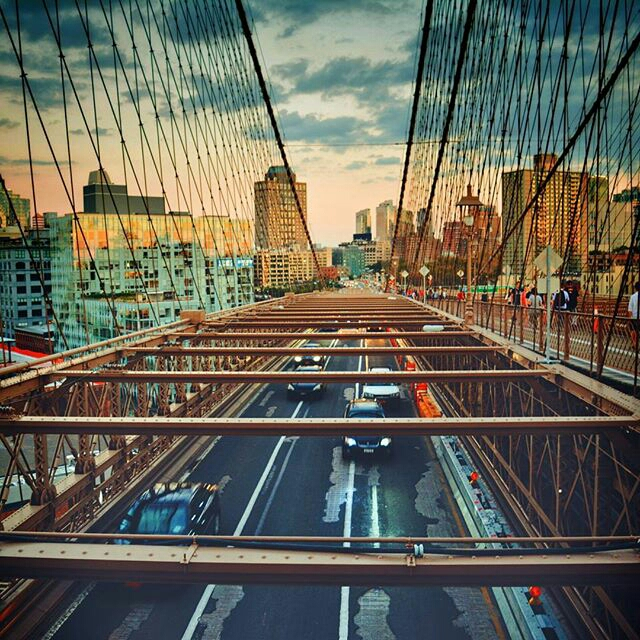 aerial view of a city bridge