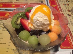 a glass dish of Homemade Grass Jelly with Mixed Fruits & Ice Cream