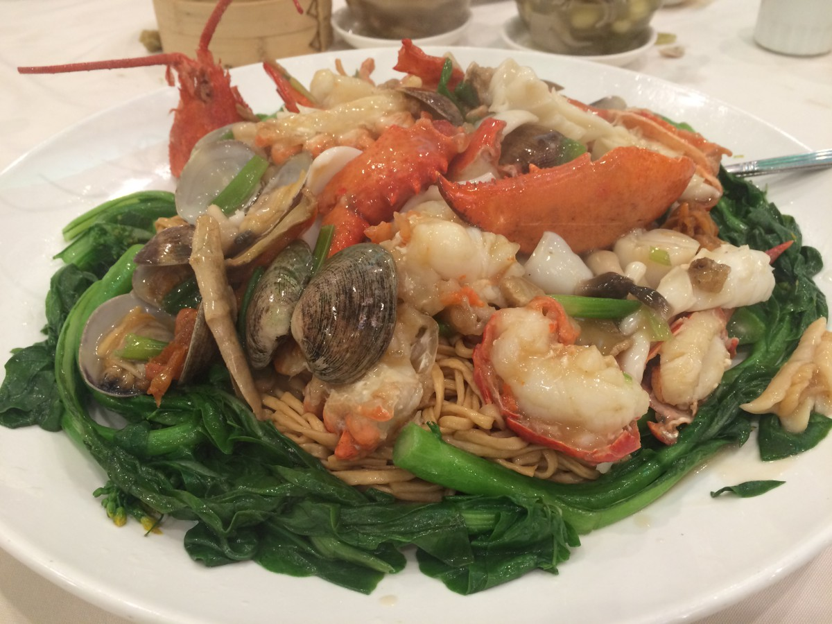 Lobster with Assorted Seafood on Yee Mein