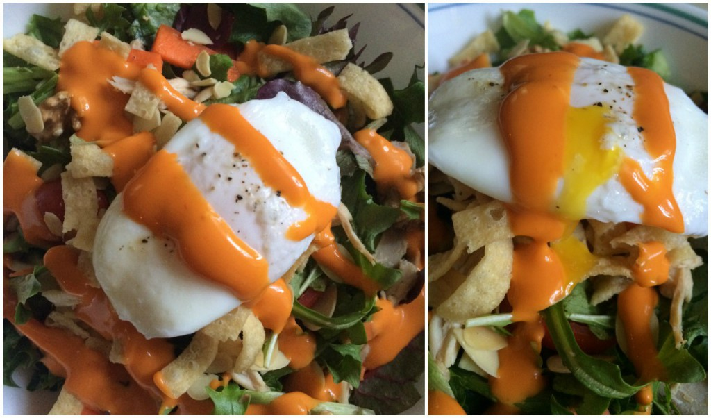 Poached Egg Roasted Chicken Salad