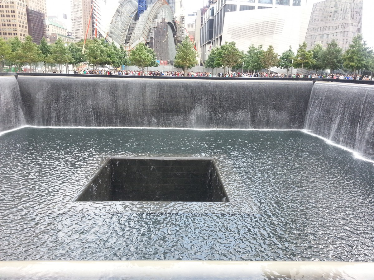 The 9/11 memorial fountain pit
