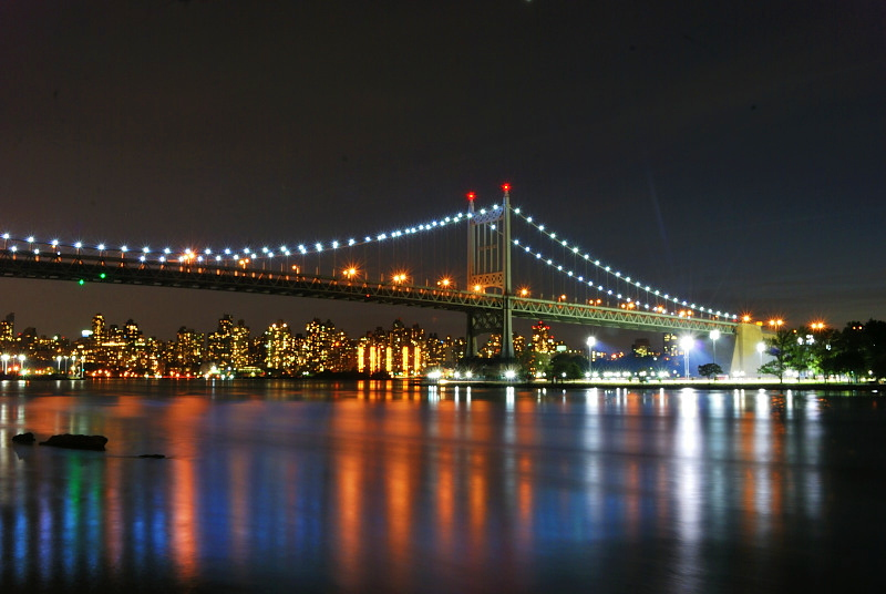 a city bridge at night