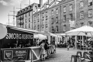 black and white of smorgasburg