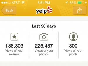 a screenshot of a yelp profile