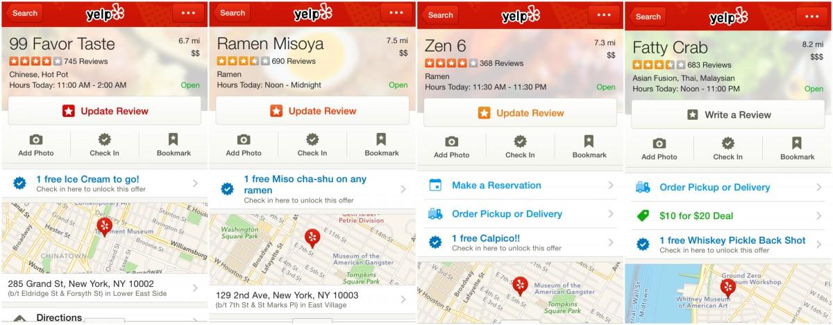 screenshots of yelp check-ins