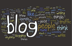 a series of words that describe what blogging is