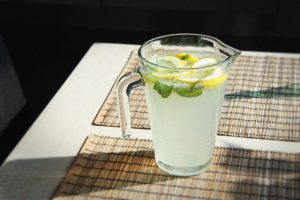 a pitcher of lemonade