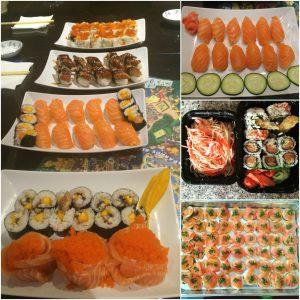plates of salmon sushi