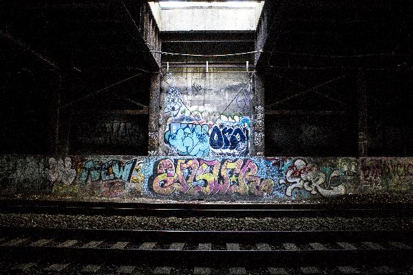 graffiti by train tracks