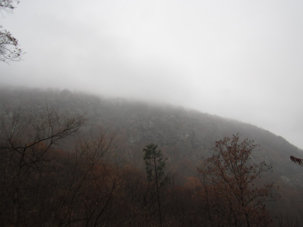 a mountain top on a foggy day