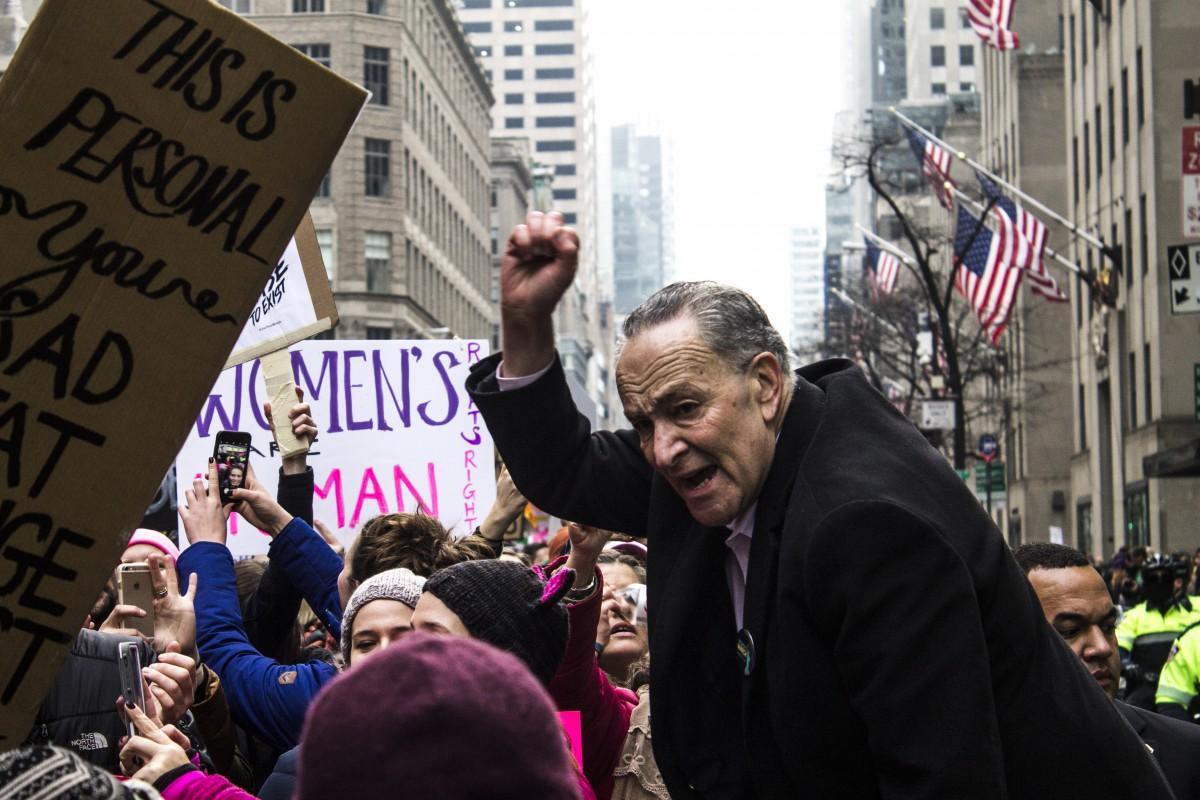 Senator Chuck Schumer protesting