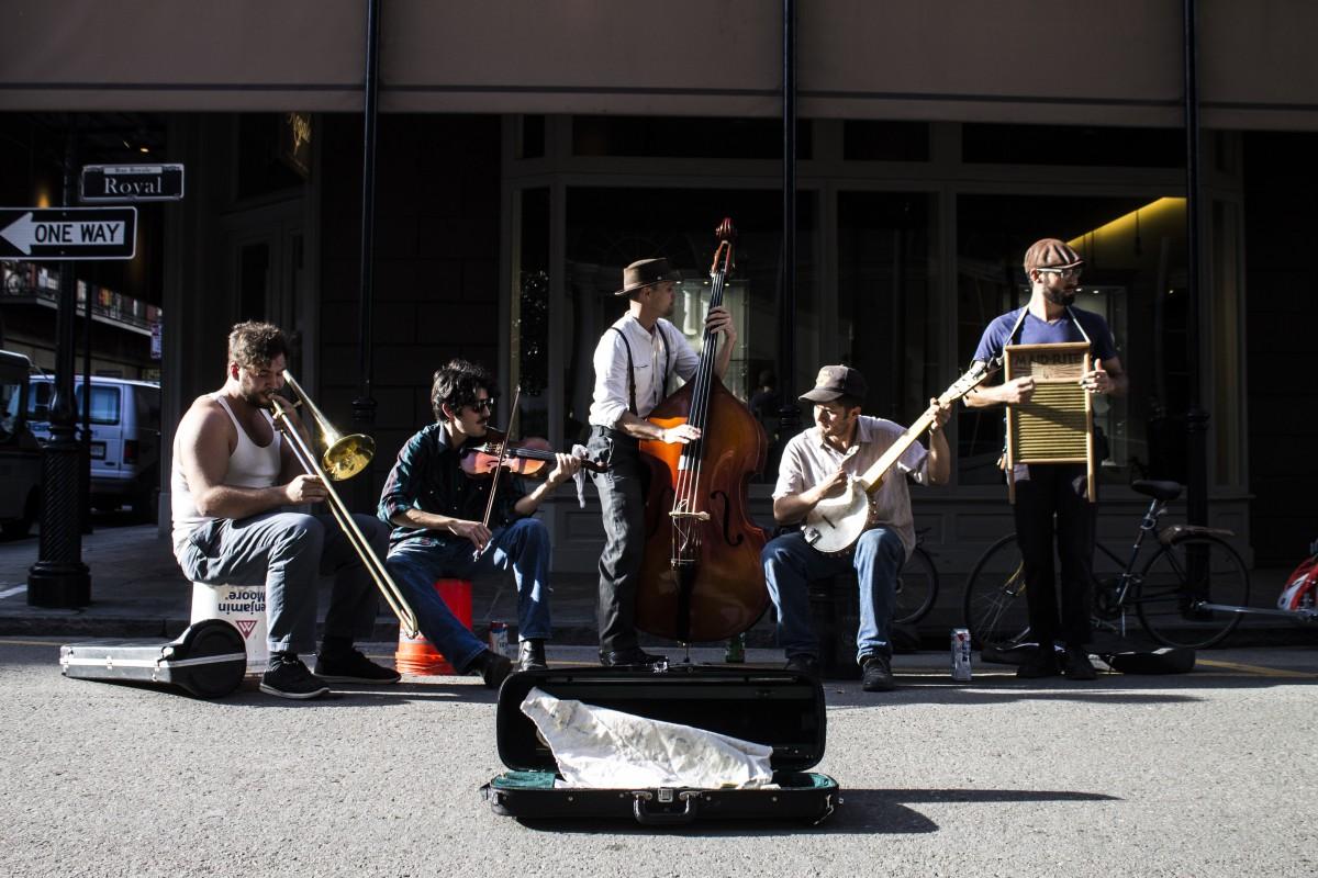 five street musicians