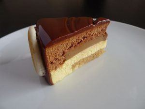 slice of an entremet cake