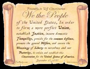 the preamble to the U.S. Constitution written on a scroll
