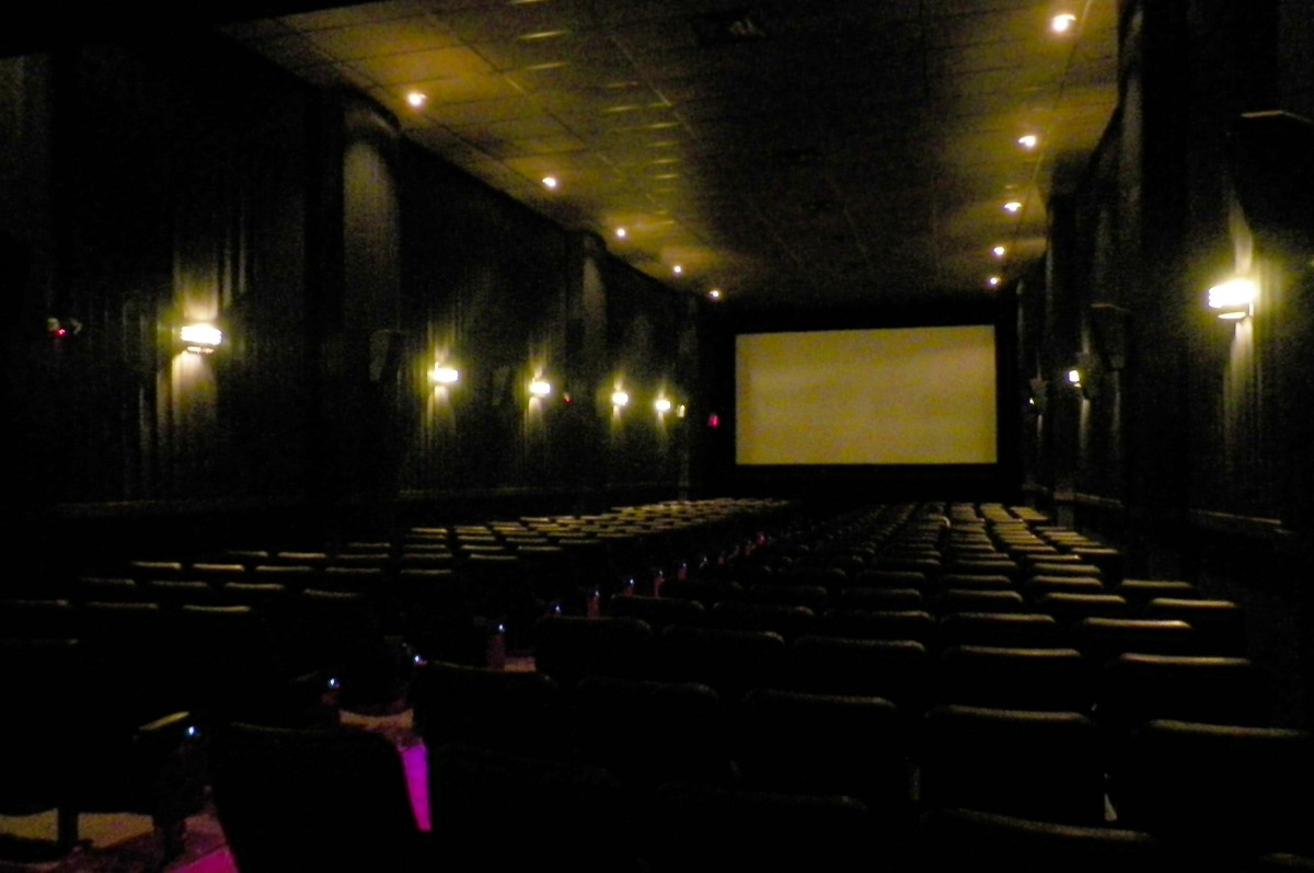Perspective view of the auditorium at Angelika Film Center