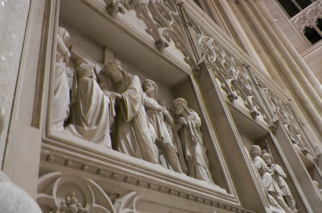 carved depiction of Jesus in a wall of the saint patrick's cathedral