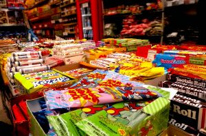 candy for sale on a table inside economy candy