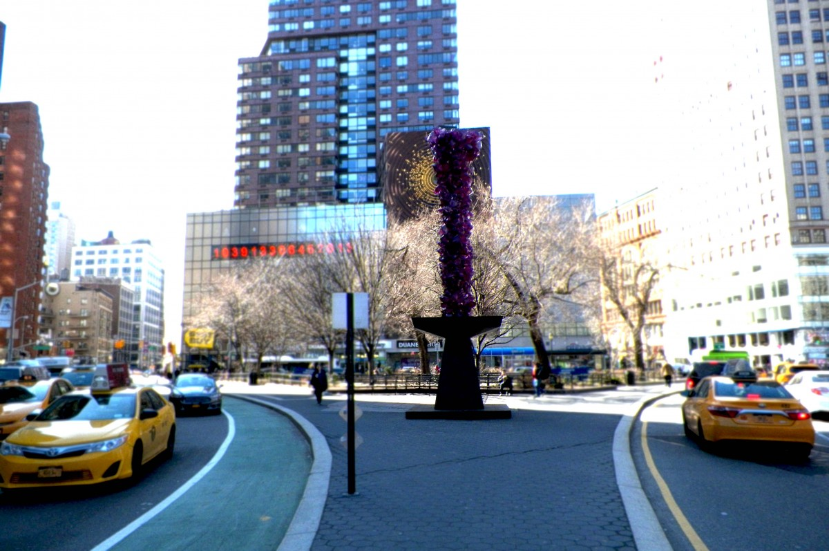 overall view of the rose crystal tower from the corner of union square park