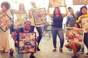 group of women holding up picture collage boards