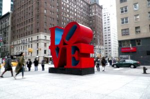 the love sculpture from the right corner