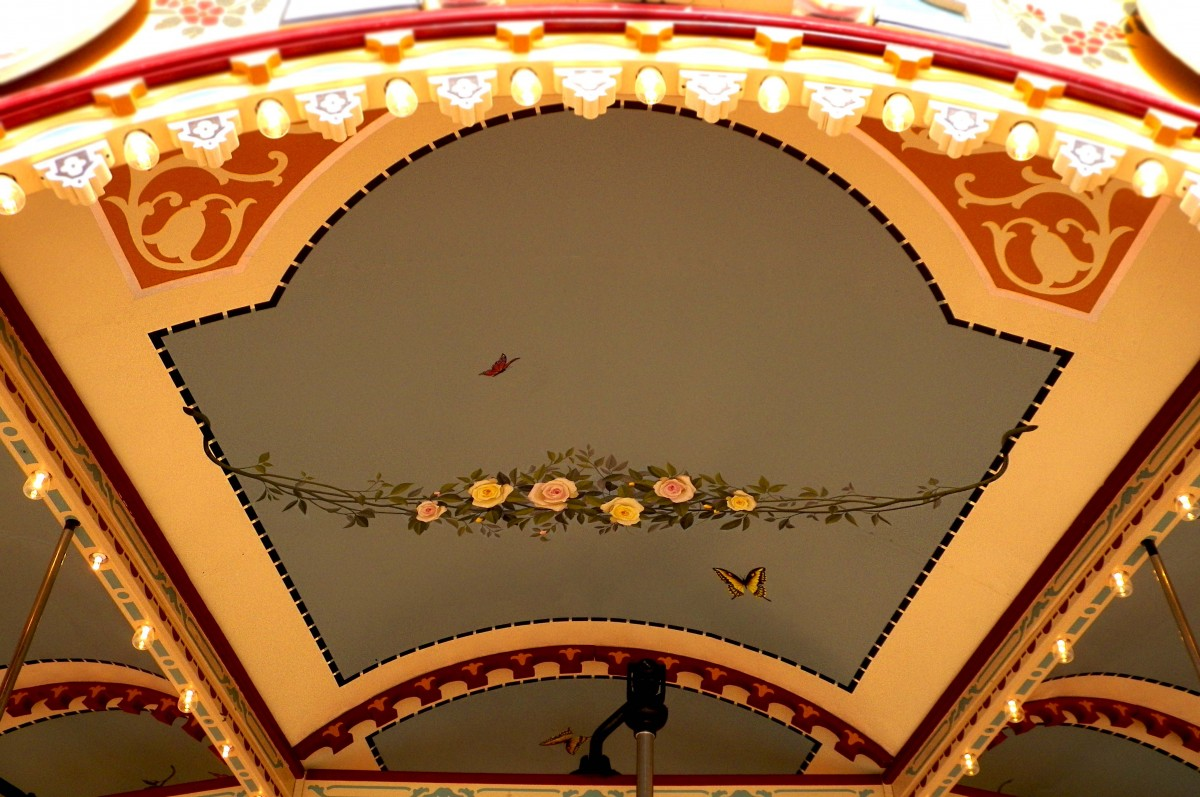 the interior of the above head shelter, adorned with a butterfly, sky, and flowers