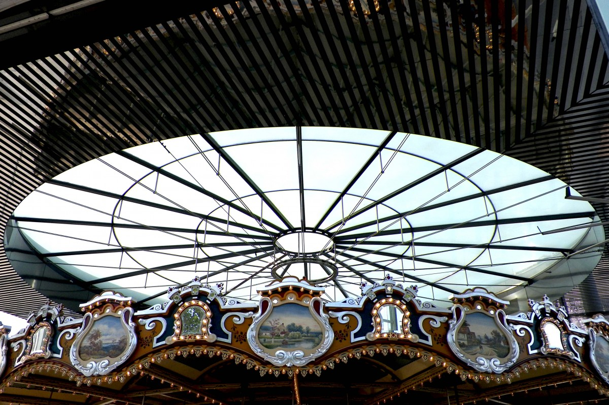the ceiling of the overall structure over jane's carousel