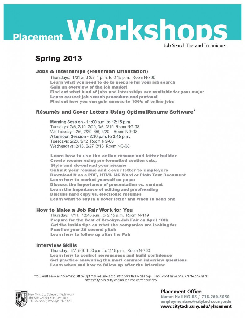 Image: Placement workshops flyer