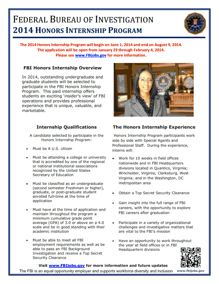 Image: FBI internship flyer