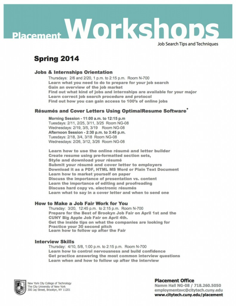 Image: Placement Office Spring 2014 Workshops Flyer