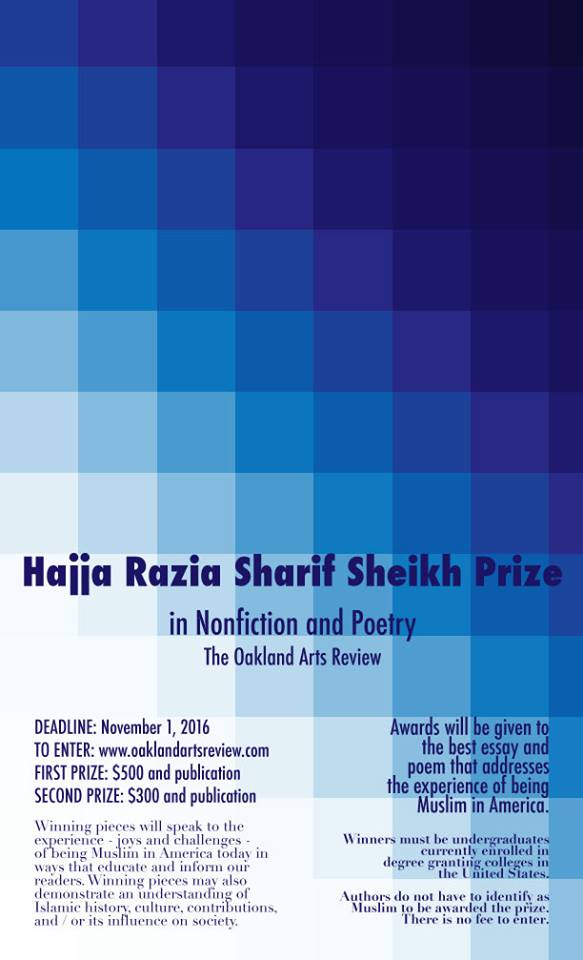 Image: Hajja Razia Sharif Sheikh Prize in Nonfiction and Poetry