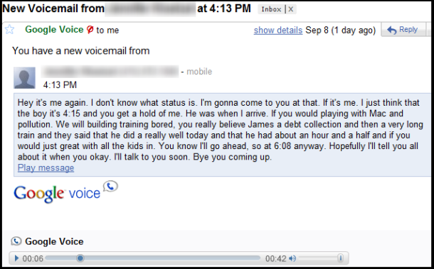 voicemail transcribed