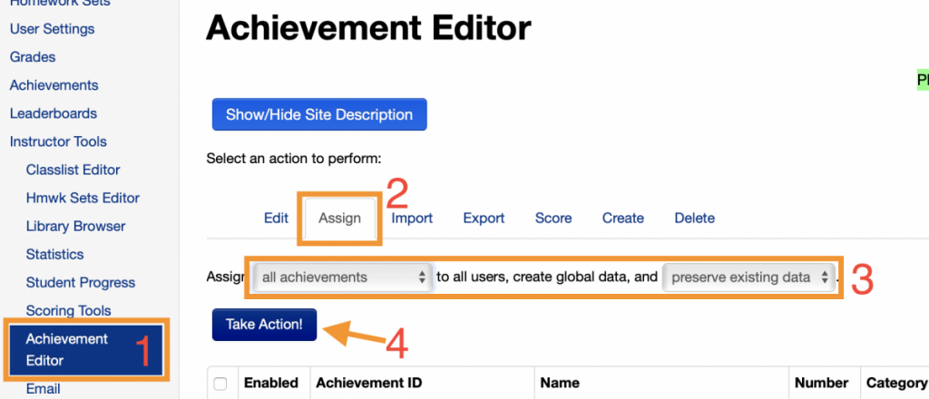 steps to assign achievements to all students