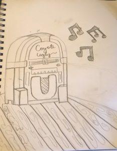 Juke box with music notes on hardwood floors