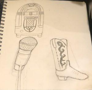 Jukebox, mic and cowboy boot