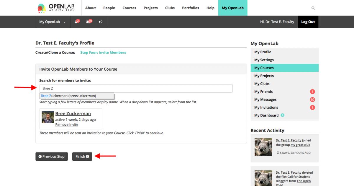 Create Course Invite Members screen shot