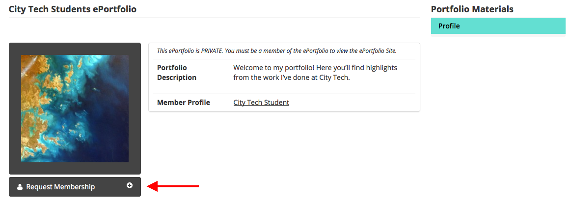 ePortfolio Settings Membership Screenshot