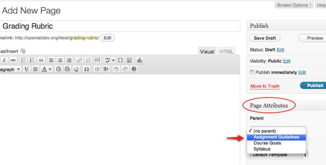 Edit page attributes screenshot