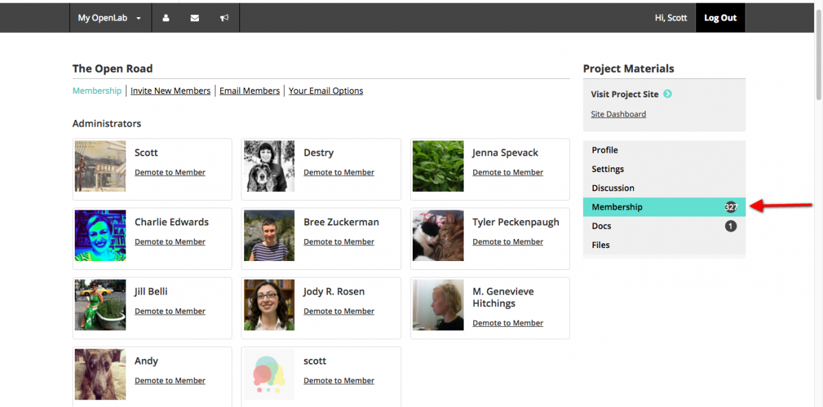 Managing Membership Screen Shot