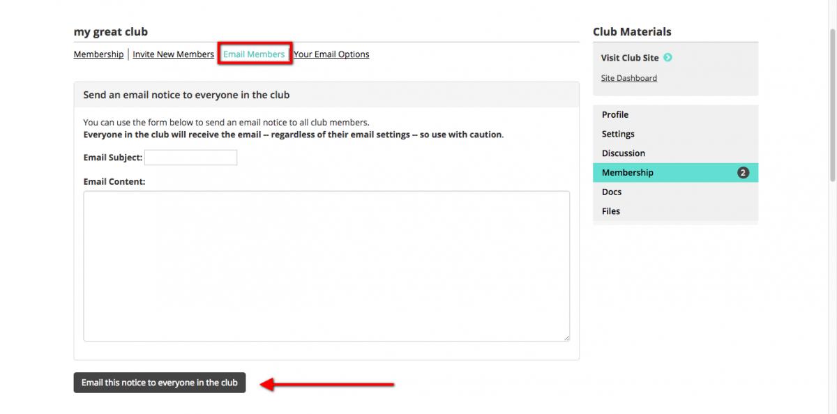 Emailing Members Screen Shot